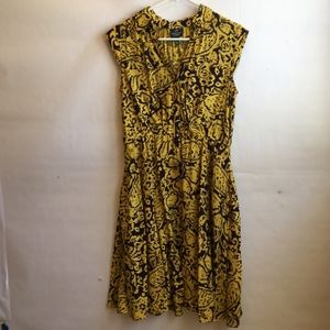 ADRIANNA PAPELL DRESS IN YELLOW AND NAVY PRINT